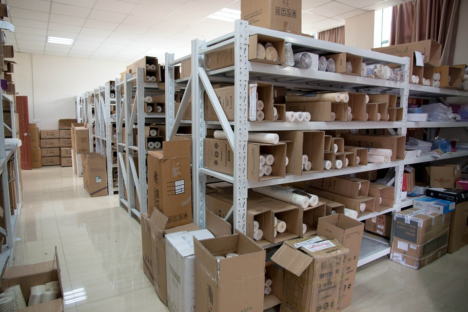 inside of a warehouse showing stock
