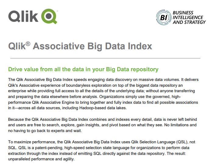 Qlik Associative Big Data Index Datesheet front page